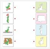Dragões verdes dos desenhos animados Jogo educacional para crianças Foto de Stock