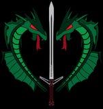 Dragões verdes e espada. estêncil Fotografia de Stock