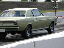 Drag Car. Picture of the Ford Falcon at the drag strip at Sanair stock images
