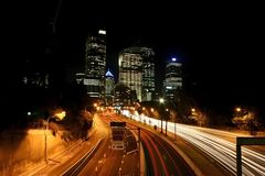 Drag car lights in Sydney. High angle shot on a street with cars passing by. Long exposure effect. Sydney. Australia Royalty Free Stock Photos