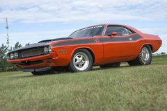 Drag car. Picture of 1970 dodge challenger drag car in display during the granby international 28-30 july 2017 Stock Photo
