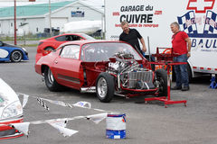 Drag car preparation Stock Images