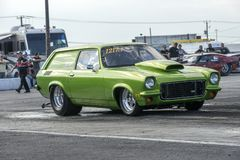 Drag car at the starting line. Picture of drag car in preparation at the starting line on the track during the john scotti all out, august 20 2016 Royalty Free Stock Image