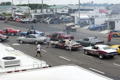 Drag cars competitors Stock Images