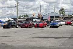 Drag cars on the line. Picture of  different drag car in line to the drag race Stock Photos