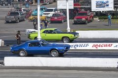 Drag competitor making a start at the starting line Royalty Free Stock Image