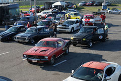 Drag competitors. Napierville dragway august 23, 2014 overview of of drag car competitors in line at entry track at john scotti all out event Royalty Free Stock Photo