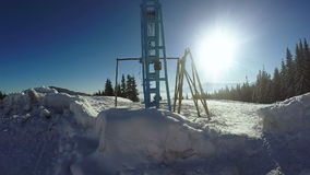 Drag lift without people. Standing ski lift and panning stock video footage
