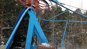 Drag lift, ski lift, twisting mechanism lifts around. Ski-lift on a small track for ski, twisting mechanism lifts around stock video footage