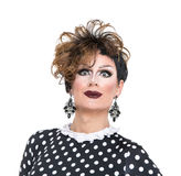 Drag Queen in Black-White Dress Performing Royalty Free Stock Images