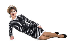 Drag Queen in Black-White Dress Performing Stock Photo