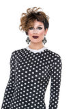 Drag Queen in Black-White Dress Performing Stock Images
