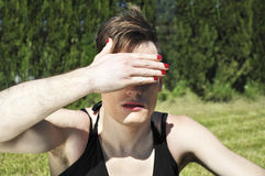 Drag queen covering her eyes Royalty Free Stock Photos