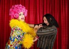 Drag queen disperato con l'uomo Fotografie Stock Libere da Diritti