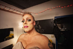 Drag Queen in Dressing Room Royalty Free Stock Image