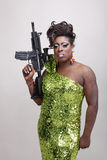 Drag queen with gun Royalty Free Stock Photo