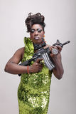Drag queen with gun Royalty Free Stock Photography