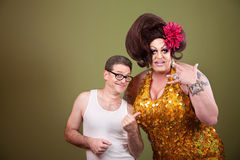 Drag queen and male friend Royalty Free Stock Photos