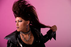 Drag queen with Mohawk. Stock Photo