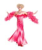 Drag queen nell'esecuzione rosa del vestito da sera Immagini Stock Libere da Diritti