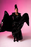 Drag queen on pink background. Stock Photo