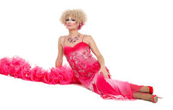 Drag Queen in Pink Evening Dress Lying on Floor Royalty Free Stock Photo