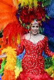 Drag Queen in Rainbow Dress Gay Pride Parade Stock Photo