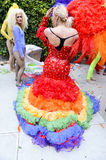 Drag Queen in Rainbow Dress Gay Pride Parade Royalty Free Stock Image