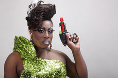 Drag queen with raygun Royalty Free Stock Photo