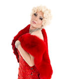 Drag Queen in Red Dress with Fur Performing Stock Photo