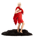 Drag Queen in Red Dress with Fur Performing Royalty Free Stock Photo