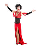 Drag Queen in Red Evening Dress Performing Stock Images
