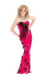 Drag Queen in Red Evening Dress Performing Royalty Free Stock Images