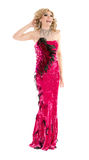Drag Queen in Red Evening Dress Performing Royalty Free Stock Photo