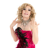 Drag Queen in Red Evening Dress Performing Stock Image