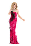Drag Queen in Red Evening Dress Performing Royalty Free Stock Photography