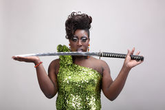 Drag queen with sword Stock Photography