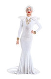 Drag Queen in White Dress Performing Royalty Free Stock Images