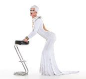 Drag Queen in White Dress Performing Stock Image