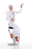 Drag Queen in White Dress Performing Stock Images