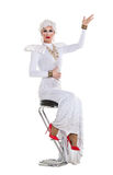 Drag Queen in White Dress Performing Royalty Free Stock Image