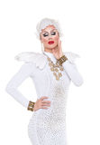 Drag Queen in White Dress Performing Royalty Free Stock Photography