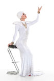 Drag Queen in White Dress Performing Stock Photo