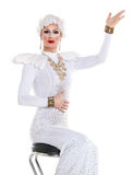 Drag Queen in White Dress Performing Stock Photos