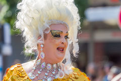 Drag Queen with white wig at Christopher Street Day Stock Photos