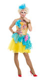Drag Queen in Yellow-Blue Dress Performing Stock Photography