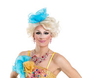 Drag Queen in Yellow-Blue Dress Performing Royalty Free Stock Photography