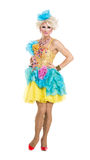 Drag Queen in Yellow-Blue Dress Performing Royalty Free Stock Photos