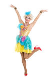 Drag Queen in Yellow-Blue Dress Performing Royalty Free Stock Images