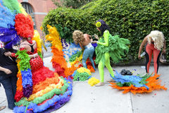 Drag Queens in Rainbow Dresses Gay Pride Parade Stock Image